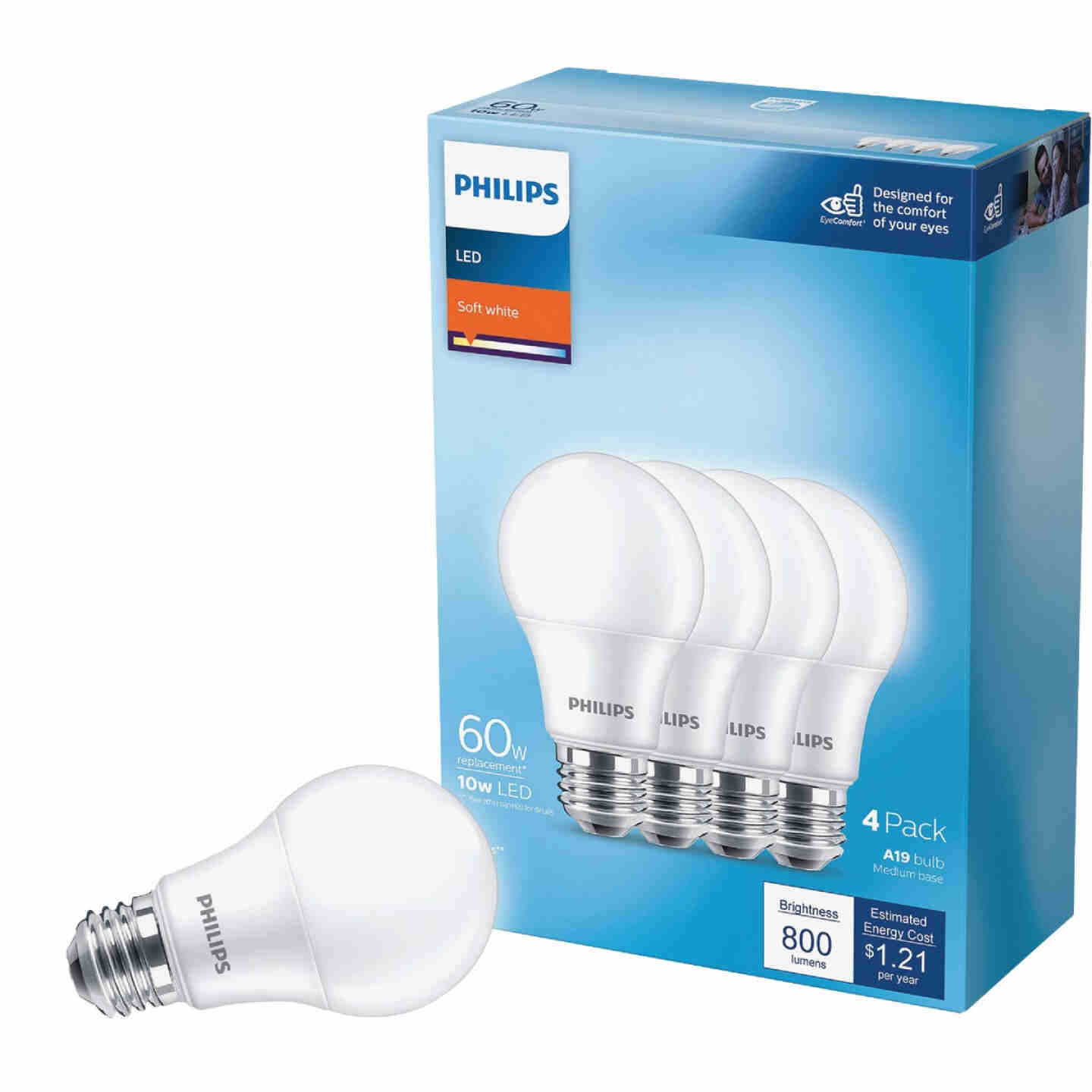 Philips 60W Equivalent Soft White A19 Medium LED Light Bulb (4-Pack) Image 1