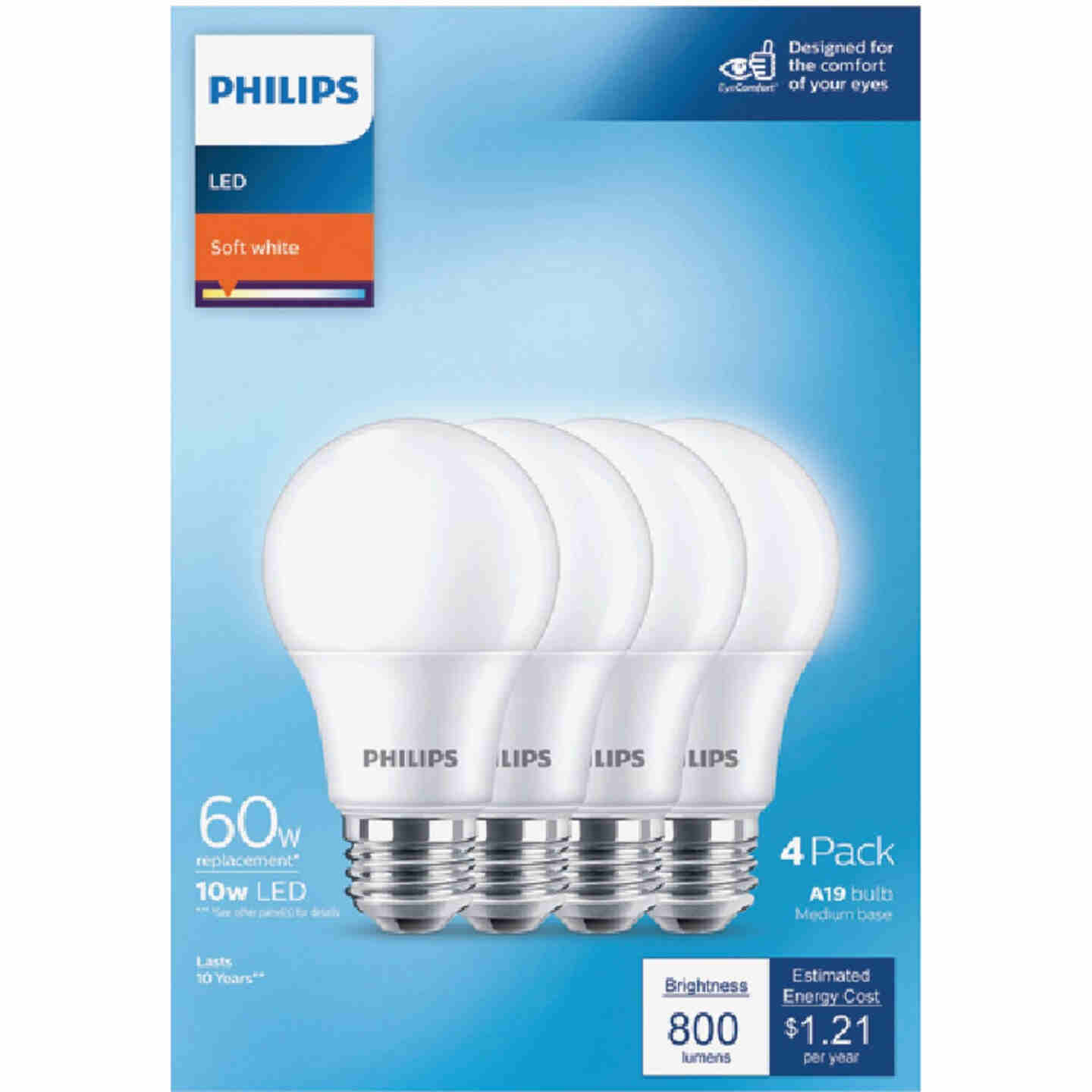 Philips 60W Equivalent Soft White A19 Medium LED Light Bulb (4-Pack) Image 2