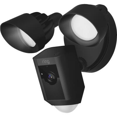 Ring Hardwired Outdoor Black Security Camera with Floodlight