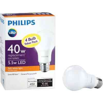 Philips 40W Equivalent Soft White A19 Medium LED Light Bulb (4-Pack)