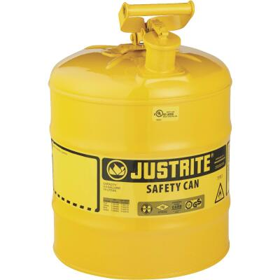Justrite 5 Gal. Type I Galvanized Steel Safety Fuel Can, Yellow
