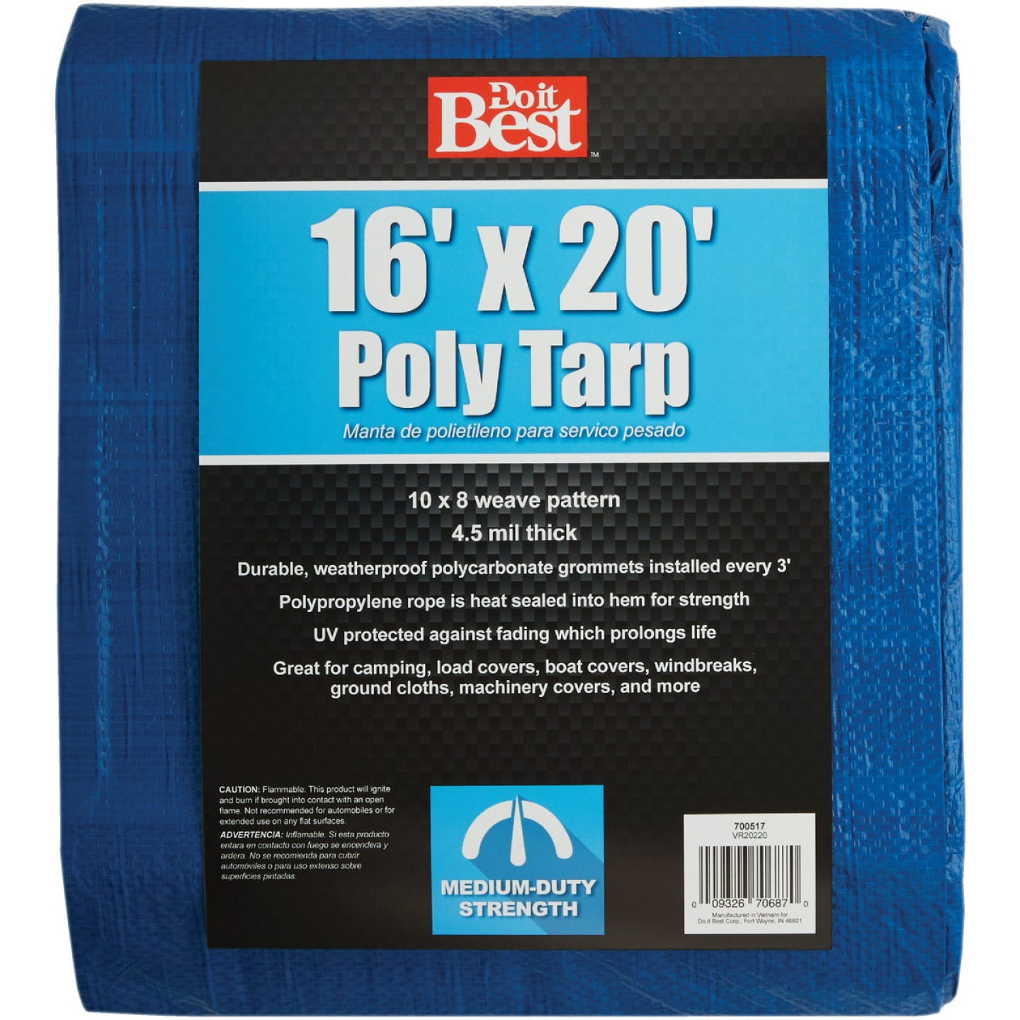 Do it Best Blue Woven 16 Ft. x 20 Ft. Medium Duty Tarp Image 1