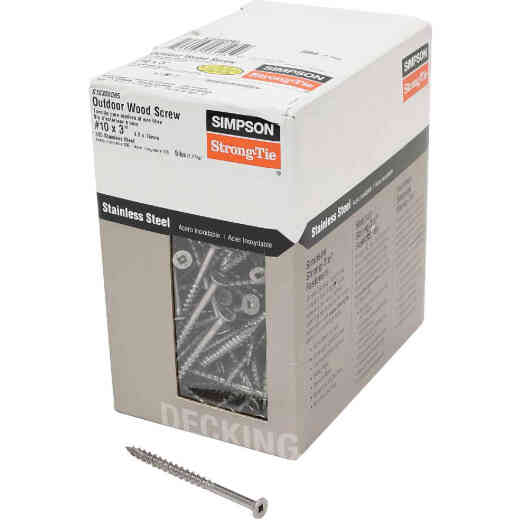 Simpson Strong-Tie #10 x 3 In. Stainless Steel Bugle Head Deck Screw (5 Lb. Box)