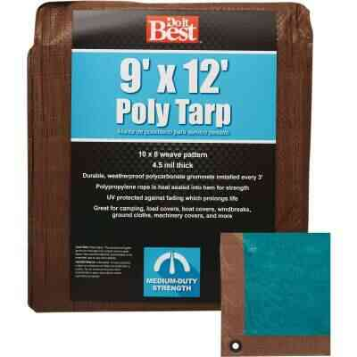 Do it Best 1 Side Green/1 Side Brown Woven 9 Ft. x 12 Ft. Medium Duty Poly Tarp