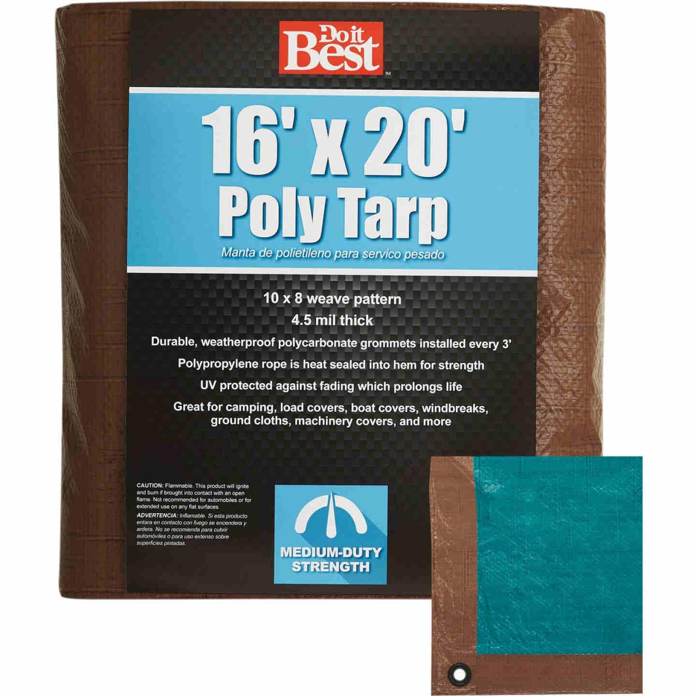 Do it Best 1 Side Green/1 Side Brown Woven 16 Ft. x 20 Ft. Medium Duty Poly Tarp Image 1