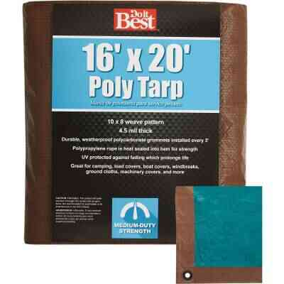 Do it Best 1 Side Green/1 Side Brown Woven 16 Ft. x 20 Ft. Medium Duty Poly Tarp