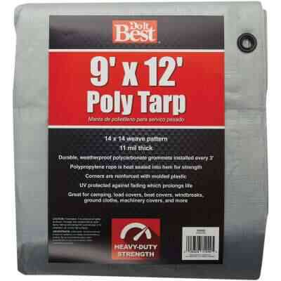 Do it Best Silver Woven 9 Ft. x 12 Ft. Heavy Duty Poly Tarp