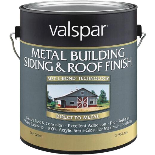 Valspar Gallon White Semi-Gloss Metal Building Paint