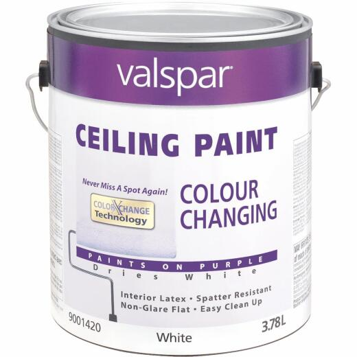 Valspar Color Changing Latex Flat Ceiling Paint, White, 1 Gal.